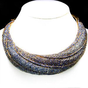 MASTER PIECE! NATURAL HEATED BLUE SAPPHIRE DIAMOND CUT 925 SILVER NECKLACE 14K