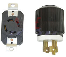 Ships Free L14-30P  locking male plug + receptacle  4-prong 125/250 Volt 30 amp