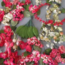 Huge Lot Vintage Millinery Flowers Deep Pink + White Velvet Silk Linen * Dolls