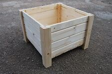 Very Big Squre Wooden Pot 55x55x40 cm of Solid Wood Spruce For Decoupage