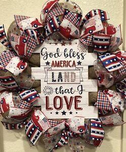 Farmhouse GOD BLESS AMERICA 🗽 Burlap DECO MESH Wreath VINTAGE TRUCK 4th of July