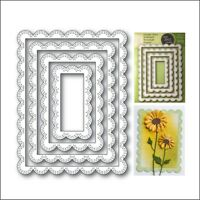 Double Stitch Scalloped Rectangle Frames dies Poppystamps metal cutting die 2002