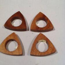 Vintage Wood Napkin Rings Triangle Philippines Polynesian Tiki Set 4 Tropical