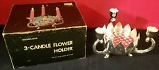 3 Candle Silver Plated Flower Arranger Candle Holder With Footed Base