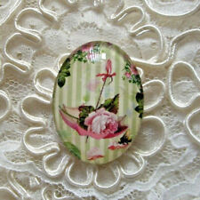 Pink Rose In Umbrella 30X40mm Glitter Unset Handmade Glass Art Bubble Cameo Cab
