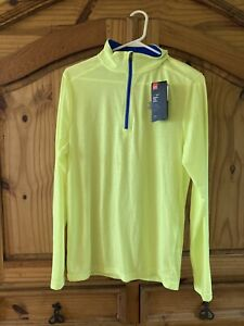 Mens Under Armour Run Fitted Yellow Blue 1/4 Zip Jacket Pullover Size S - NWT