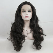 Cosplay 24 Inches Long Curly Black Women Heat Resistant Lace Front Wig +Cap