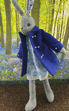 Stunning Luna Lapin Handmade Wool Coat In Indigo Blue, With Pearl Buttons