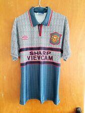 Manchester United Original 1995 Away Jersey Shirt Medium Mens Grey Umbro Man Utd