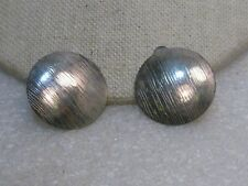 "Silver Tone Round Stud Earrings, Clip, domed, brushed finish 1"", 1970's"