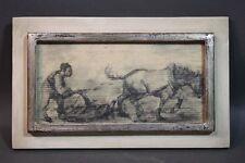 August Pfeiffer (*1902, Aka. Stuttgart) - Pflügender Bauer auf Feld mit Pferd