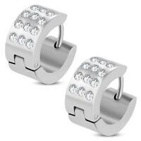 Stainless Steel Hoop Huggie Earrings with CZ pair CHO285
