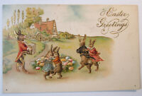 Postcard Humanized Rabbits Dancing Playing Music Easter Greetings in Gold 1738
