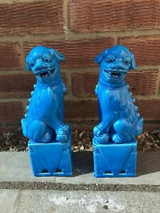 """CHINESE PORCELAIN FOO FU DOGS GUARD LIONS SET 2 TURQ BLUE MALE FEMALE 6"""" Height"""