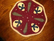 """Primitive Candle Mat - Woolfelt Snowman with trees 9"""""""