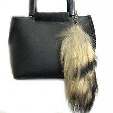Natural Real Raccoon Tail Fur Keychain Tassel Bag Tag Purse Charm Car Keyring