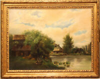 LARGE ANTIQUE LANDSCAPE OIL PAINTING ON CANVAS GOLD FRAME FARM AND POND