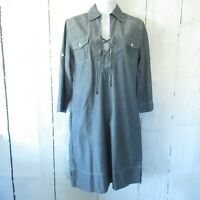Tommy Bahama Denim Dress XS X Small Blue Lace Up Shift Dress Pockets Chambray