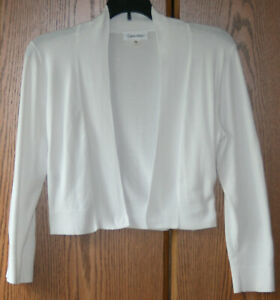 Calvin Klein Women's Small Knit Bolero Cardigan Shrug White Long Sleeve Sweater
