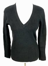 ANA V-Neck Sweater Womens XL Black Cotton Ribbed Casual Career Long Sleeve New