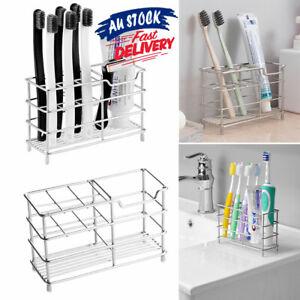 Toothbrush Non-Slip Holder Toothpaste Organizer Bathroom Stainless Steel Stand