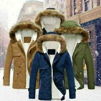 Mens Hooded Fur Collar Coat Thicken Jacket Warm Winter Parka Down Cotton Outwear