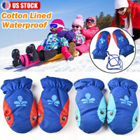 Kids Boys Girls Winter Ski Gloves Snow Warm Snowboard Waterproof Outdoor Sports
