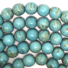 "16mm blue turquoise round gemstone beads 16"" strand"