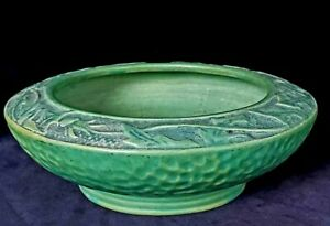 Unmarked Weller? Unknown Pattern Matte Green Pottery Bowl w Thistles