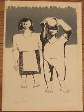 "Signed Mario Mollari 1930-2010 silkscreen print Argentina modernist 14""x19"""