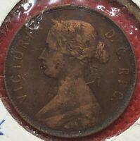 1880 New Foundland Queen Victoria Bronze One Cent