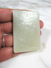 ANTIQUE CHINESE CARVED MUTTON FAT LIGHT CELADON JADE PENDANT FIGURES CALLIGRAPHY