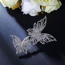 Brosche groß Silber zwei Schmetterling Kristall weiß Spitze fein Ehe XZ4