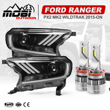 MOBI LED Headlights Projector Halo DRL For Ford Ranger PX2 Everest 2015-ON H11