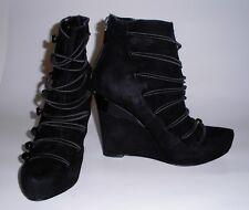 Rachel Roy black suede platform Roye wedge bootie, 6.5