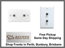 100 x BULK Hills Double F-type White Wall Plate Telstra Foxtel Approved