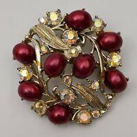 Rosy Burgandy, AB Rhinestone & Gold Tone Vintage Button Wreath Pin Brooch