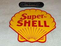 "VINTAGE SUPER SHELL GASOLINE YELLOW 11 3/4"" PORCELAIN METAL OIL SIGN! PUMP PLATE"