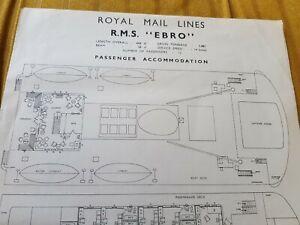 Royal Mail Steam Packet Company  Passenger Cabin  Plan of RMS Ebro circa 1956