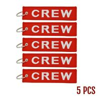 Luggage Keychain Tags for Flight Crew - Set of 5 with Keyrings