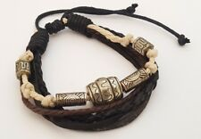 BROWN LEATHER BEADED TRIBAL SURFER BRACELET MULTI STRAND WRIST WRAP WRISTBAND
