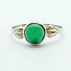 Brand New Sterling Silver 925 Green Onyx (Round) Ring, Size M