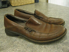 Womens MERRELL TERRA WAVE SADDLE BROWN Leather Slip On Loafers Size 9 Good Cond