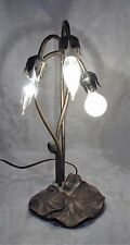 "Vintage Brass Twisted Lily Flowers Table Lamp Rare Unique 3 bulbs 16"" Tall"
