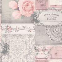 Couronne Ophelia Découpage Papier Peint Fard - M1426 Rose/Gris Neuf