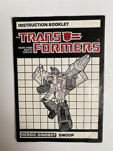 Vintage G1 Hasbro Transformers Swoop Instruction Booklet Book 1985 Original