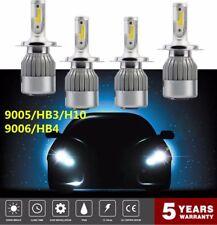 4PCS 9006+9005 LED Headlight 3000W 450000LM Hi-Lo Beam Combo Kit 6000K VS HID