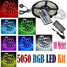 10 M 5050 tiras de LED Luz Rgb Kit Completo Con Control Remoto 44Key Fuente De Alimentación Reino Unido