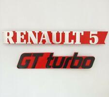 ⭐ Neu Satz 2 Monogramme Renault 5 Gt Turbo Rot R5 Gtturbo Abzeichen Toll 5