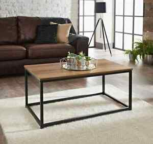 Tromso Stylish Living Room Wooden Top and Metal Frame Contemporary Coffee Table
